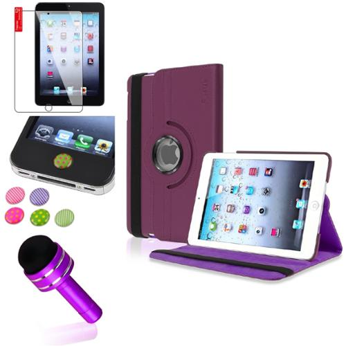 iPad Mini 3/2/1 Case, by Insten Purple 360 Leather Case Cover+SP/Pen/Sticker for iPad Mini 3 2 1