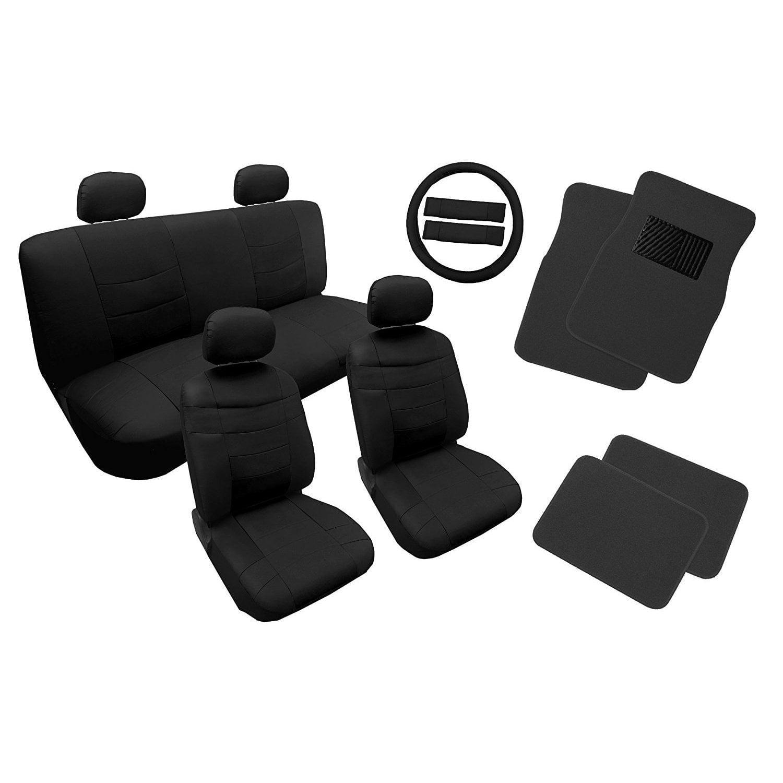 Unique Imports Leather Seat Cover Set Black w/4pc Floor Mats 14pc - Hyundai Sonata