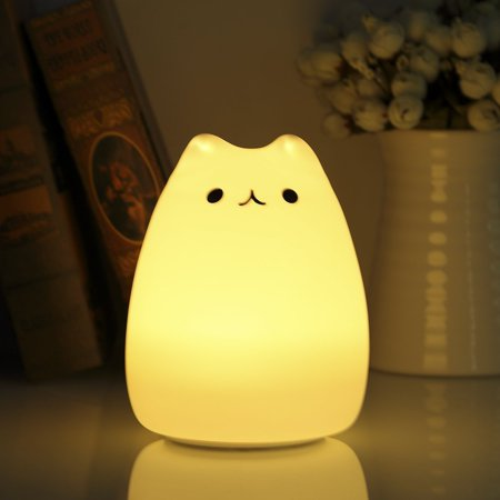 Cute Cat Led Touch Night Light For Kids Portable Silicone Soft Baby Nursery Lamp