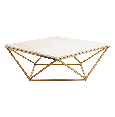 Dune Modern Marble Coffee Table Gold Base 36 W Walmart Com