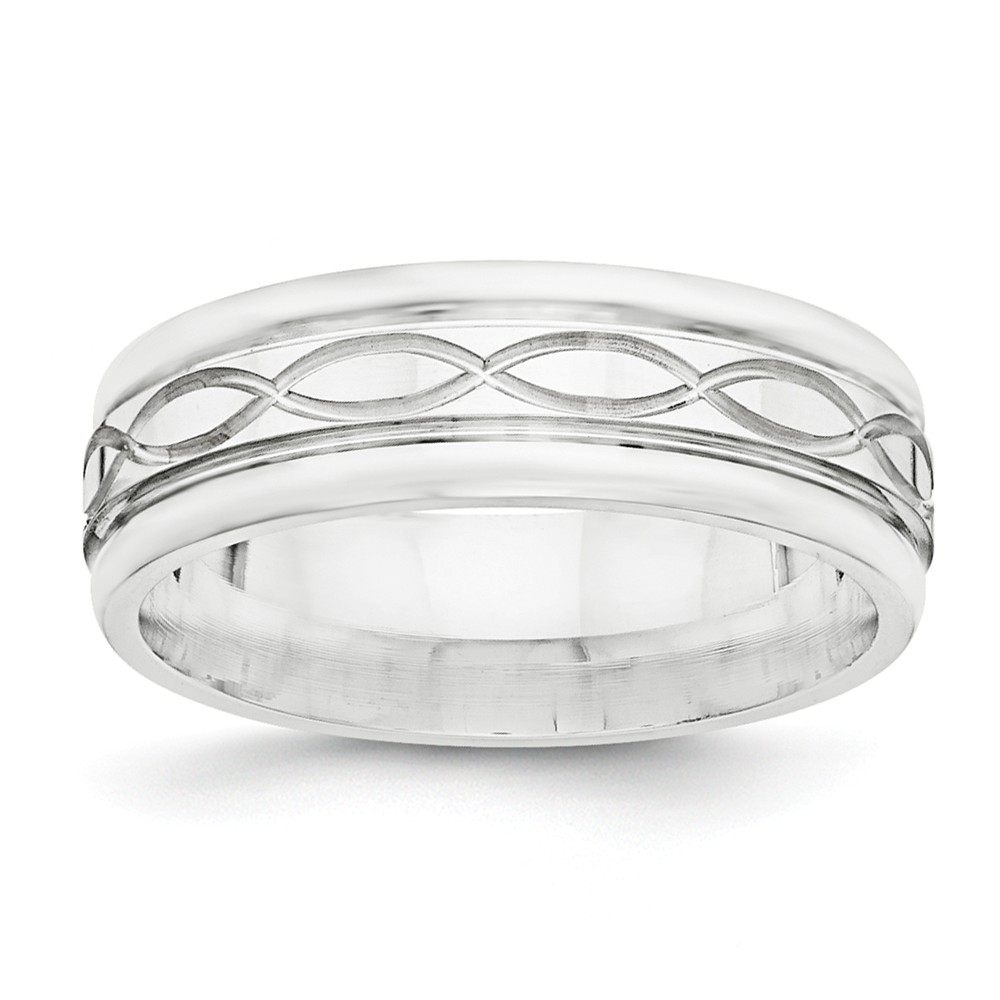 925 Sterling Silver 7mm Polished Fancy Band Size 13.5 Size-13.5