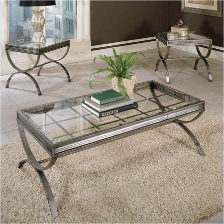 Bowery Hill 3 Piece Coffee and End Table Set in Silver ()