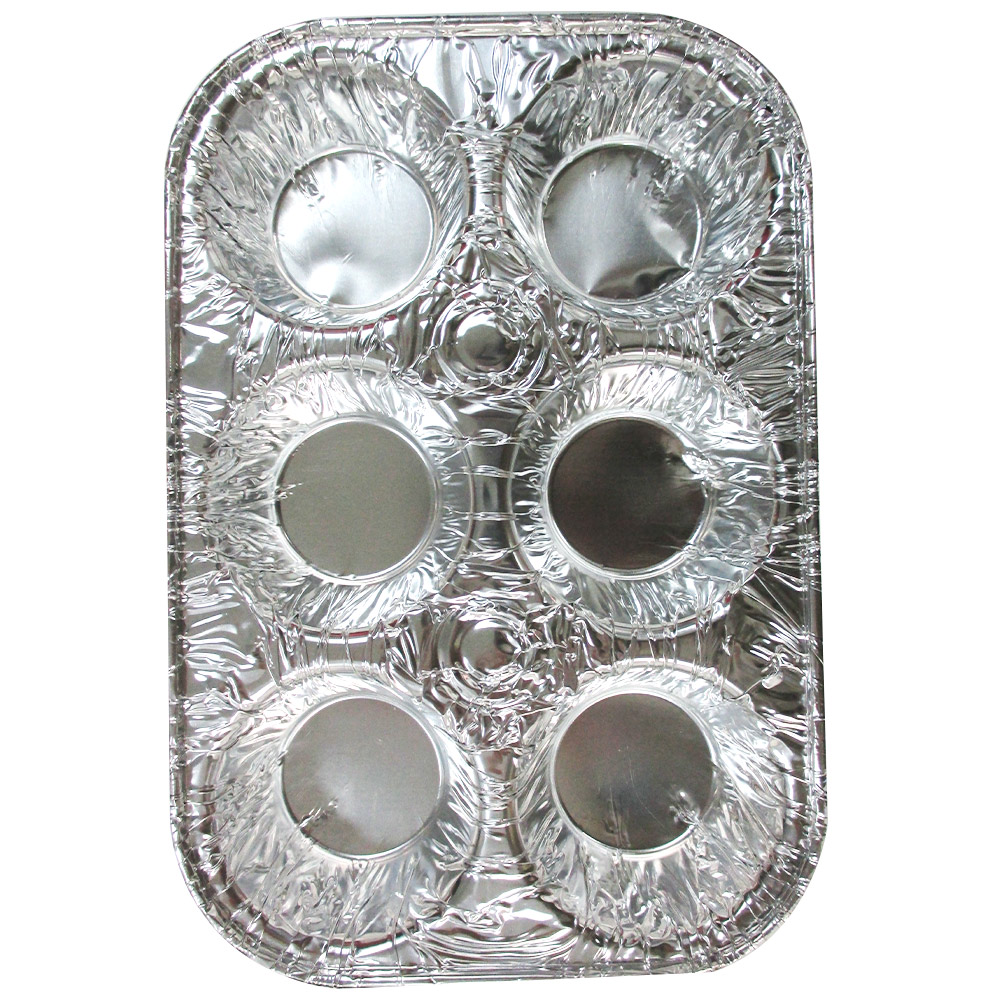 10 Pack Foil 6 Cavity Aluminum Pan Cake Mold Muffin Cupcake Disposable Container by PRIDE PRODUCTS