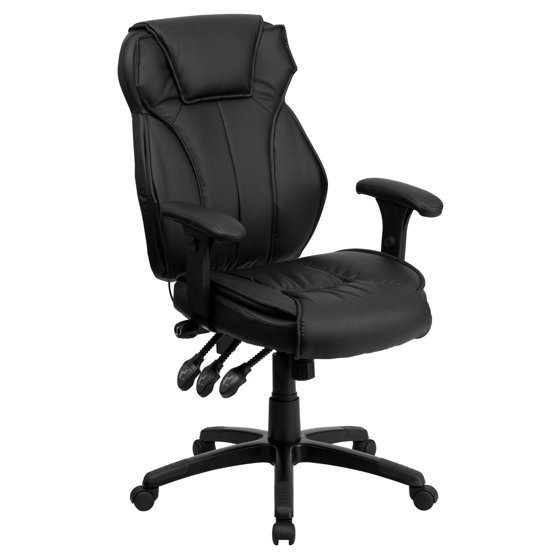 Flash Furniture High Back Leather Executive Swivel Office Chair With Triple Paddle Control And Lumbar Support