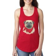 Pug Wearing Red Bandana Animal Lover Ladies Racerback Tank Top