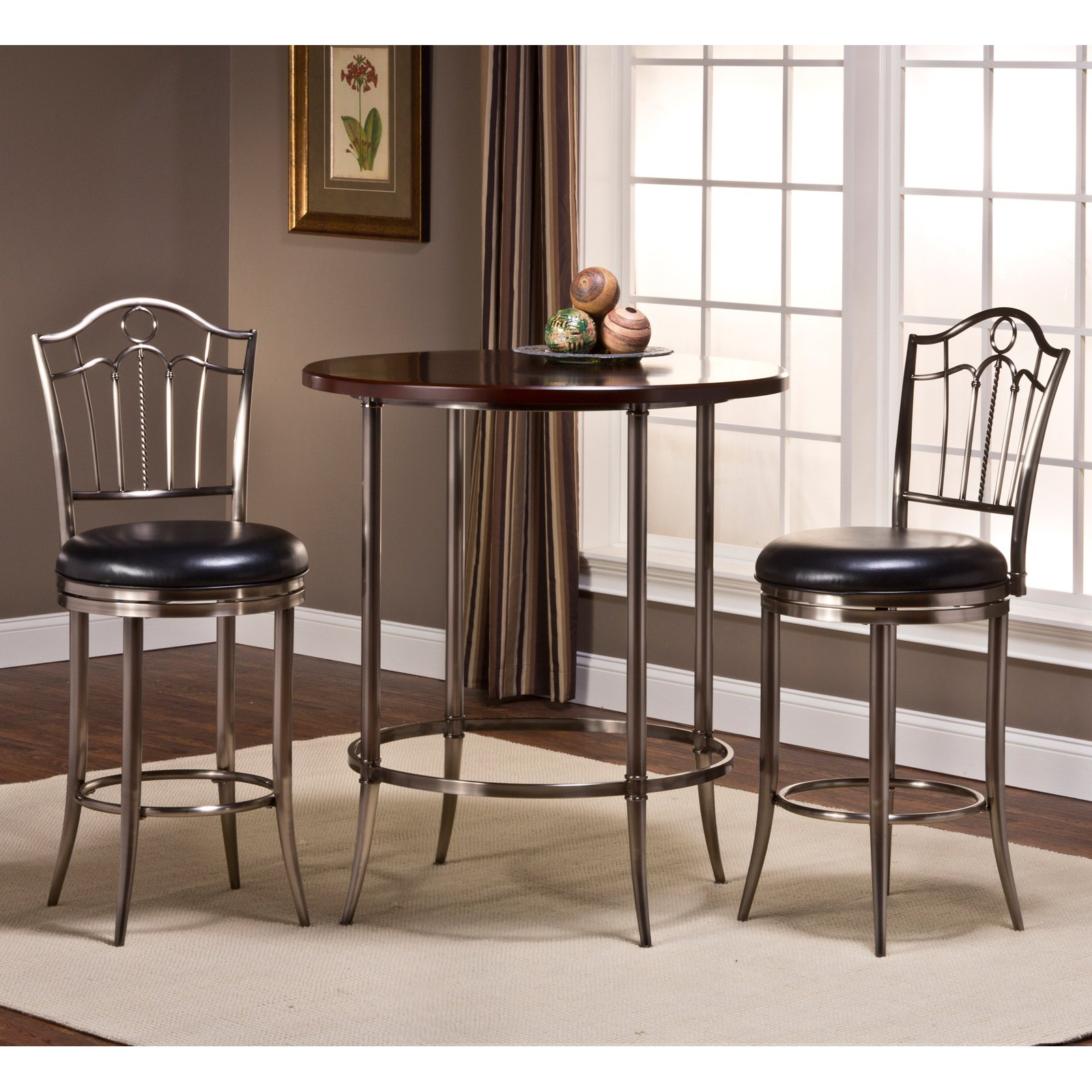 Hillsdale Maddox Bar Height Bistro Table in Espresso and Nickel