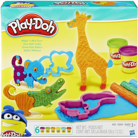 Play-Doh Make 'N Mix Zoo Animal Set with 4 Cans of Dough & 10 Tools