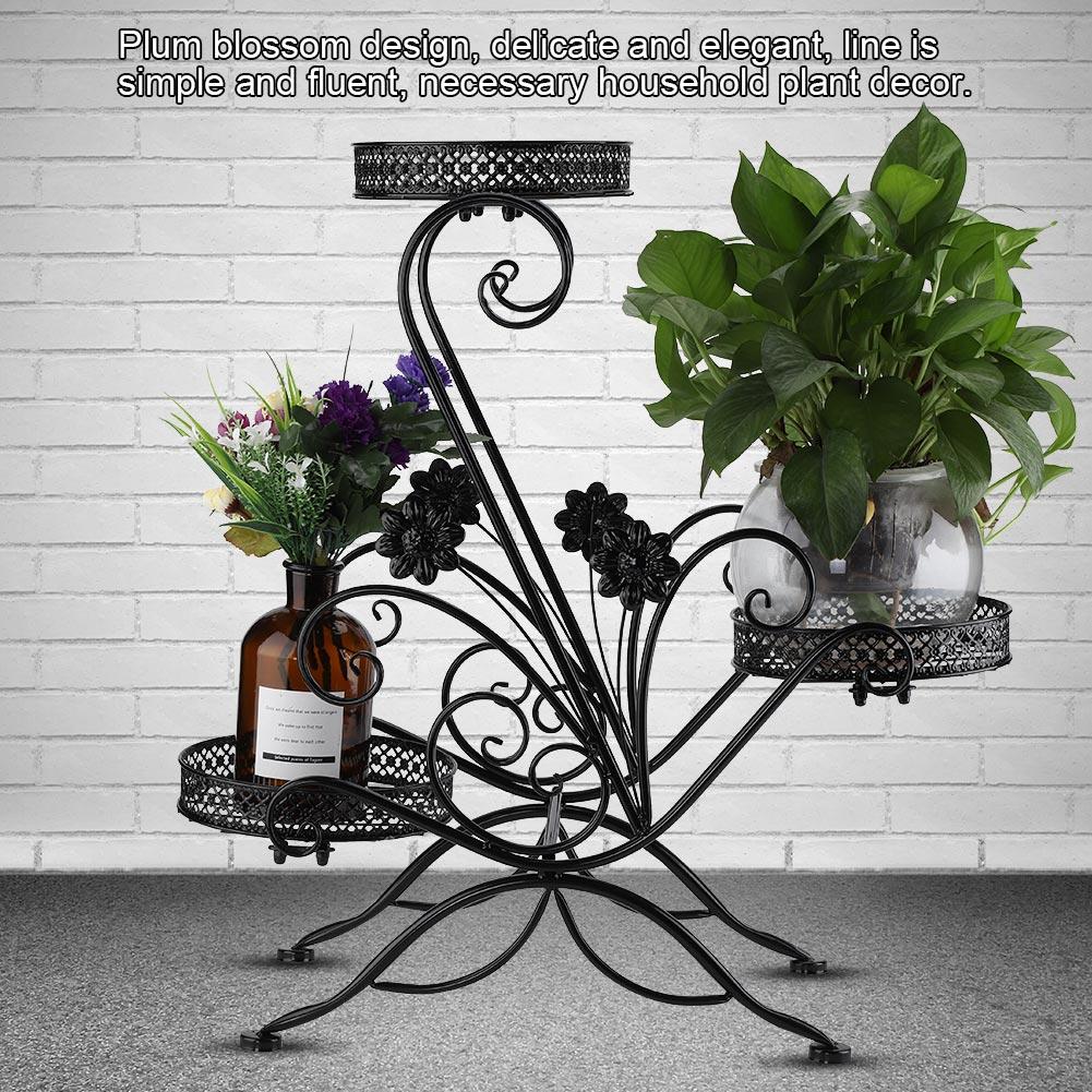 Knifun 3 Tiers Iron Flower Pot Rack for Indoor Outdoor Balcony Living Room Plant Display Stand , Plant Display Stand, Flower Pot Rack