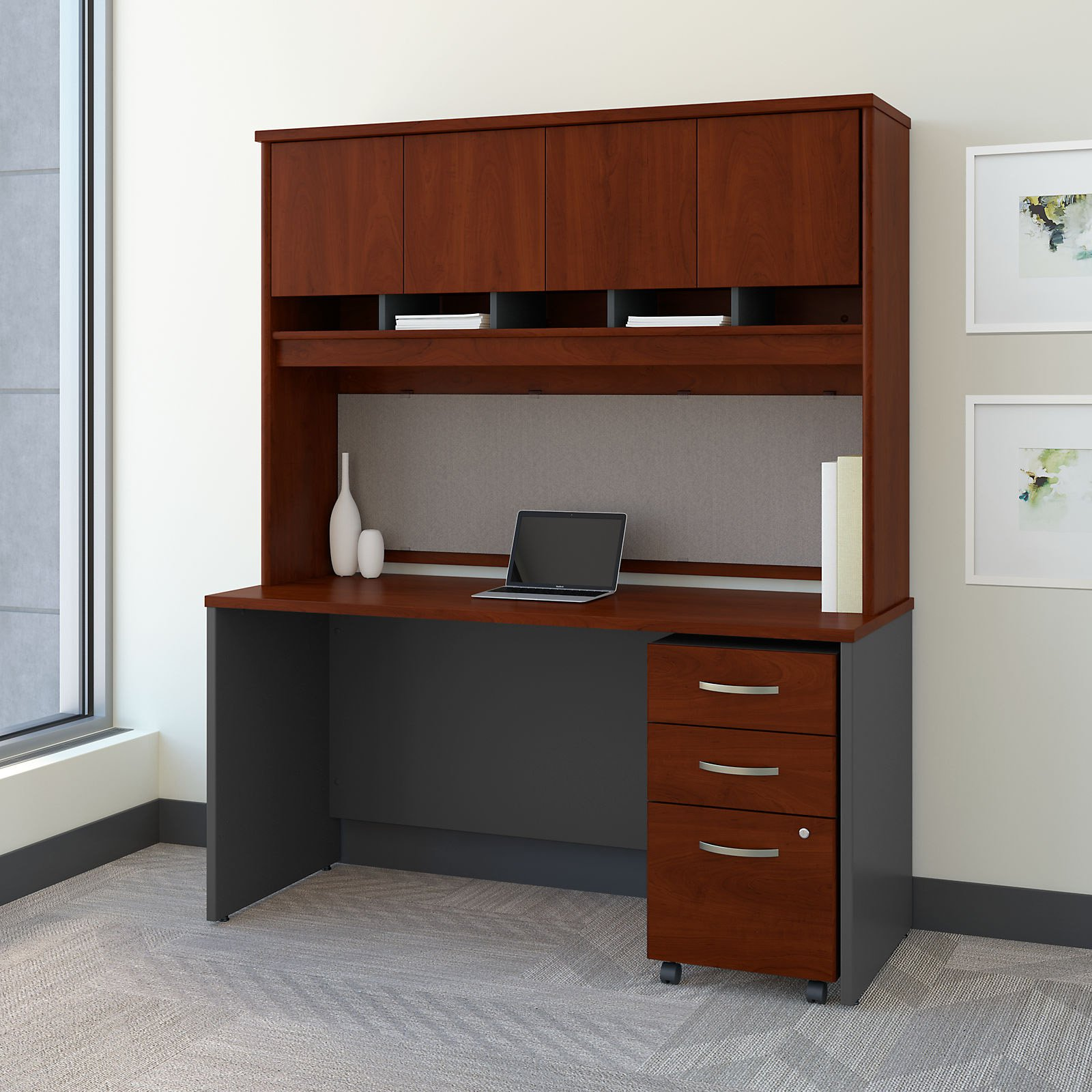 Superieur Bush Furniture Series C 60 In. Office Desk With Hutch And Mobile File  Cabinet