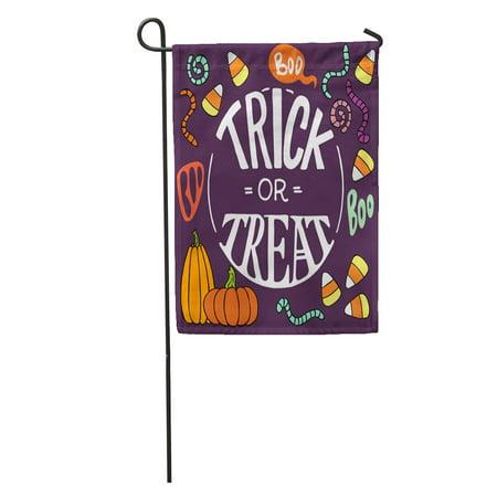 KDAGR Colorful Halloween Doodles Cartoon Candy Corns Pumpkins Worms Trick Threat Hand Lettering Garden Flag Decorative Flag House Banner 12x18 inch - Halloween Dirt Worms