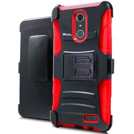 Phone Case For Zte Blade Spark 4G At T Prepaid Smartphone  Zte Grand X4  Cricket Wireless  Case  Dual Layer Holster Belt Clip Cover Case With Kickstand  Red