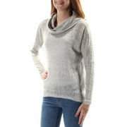 BAR III Womens Gray Sheer Long Sleeve Cowl Neck Sweater Plus  Size: 2X