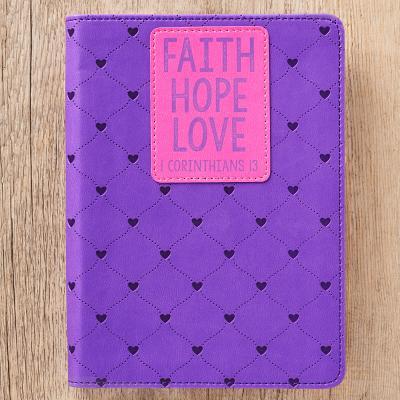 Journal Lux-Leather Faith Hope Love Purple 1 Cor 13