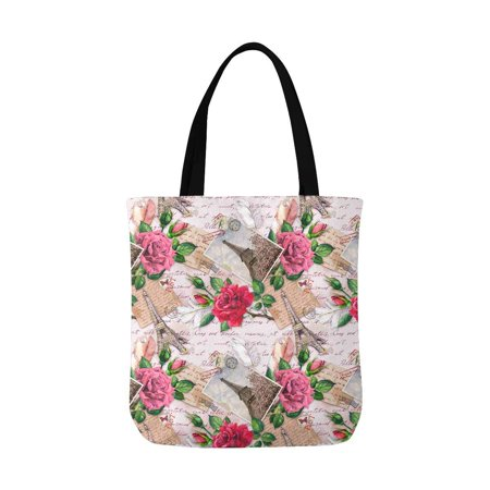 HATIART Vintage France Paris Eiffel Tower with Rose Flowers on Postal Stamps Canvas Tote Bags Reusable Shopping Bags Grocery Bags Washable Bags for Women Men Kids - image 3 de 3