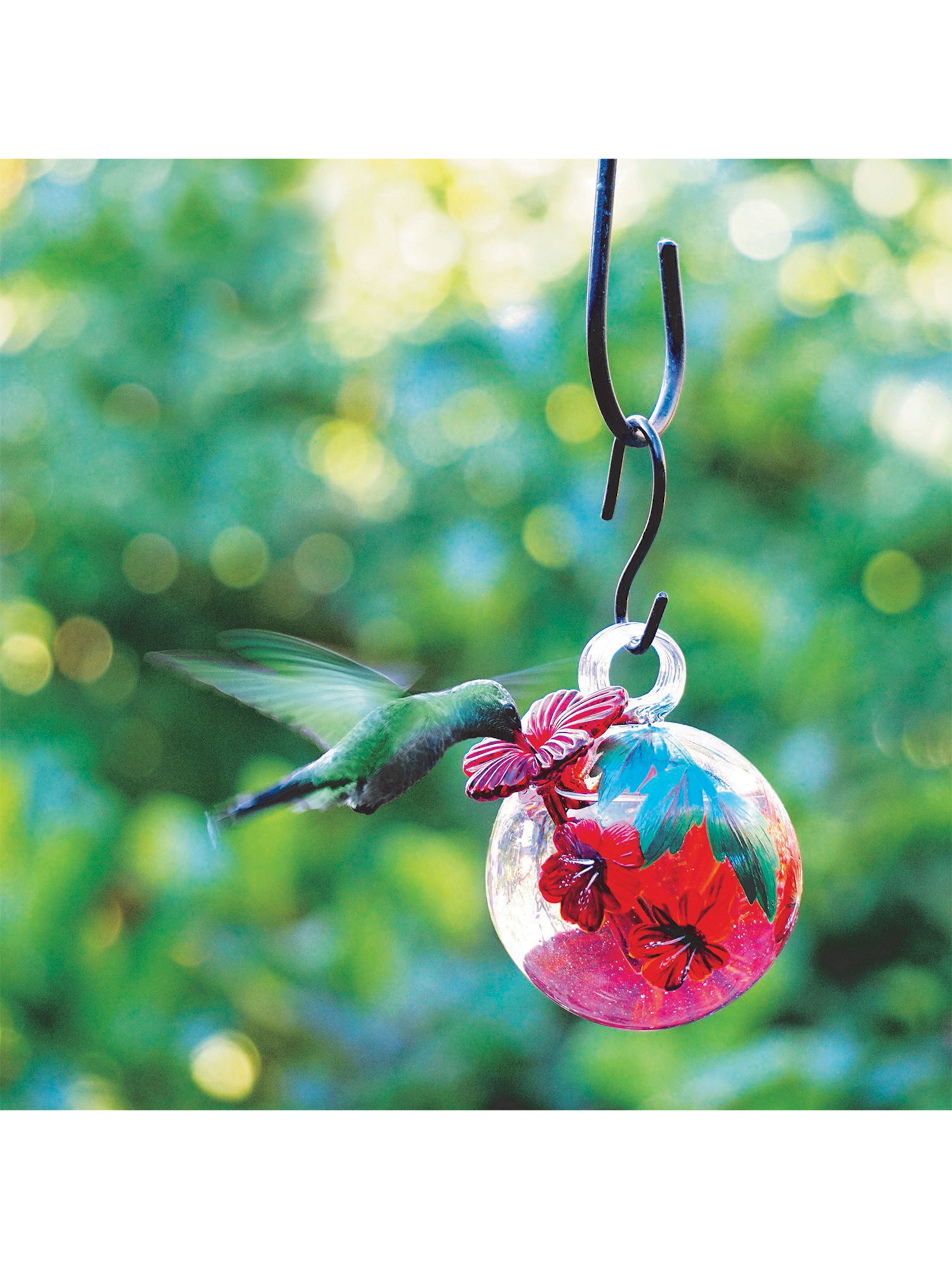 Parasol Droplet Glass Hummingbird Feeder   Hand Blown Floral Painted  Eco Friendly Nectar Holder With