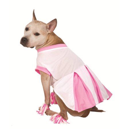 Rubies Dog Cheerleader Costume Pink Cheer Leader Pet Outfit Pom Pom Anklets](Cheerleaders Pom Poms)