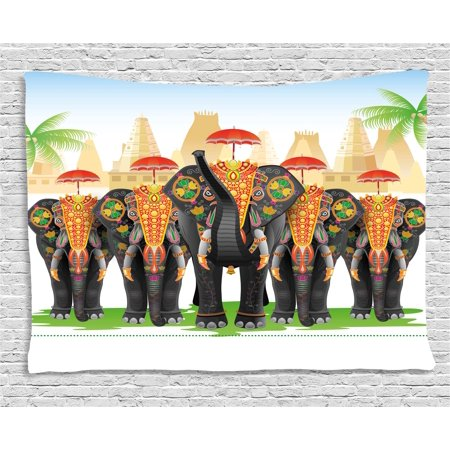 Ethnic Tapestry, Elephants in Traditional Costumes with Umbrellas Indian Ceremony Ritual Graphic, Wall Hanging for Bedroom Living Room Dorm Decor, 80W X 60L Inches, Multicolor, by Ambesonne