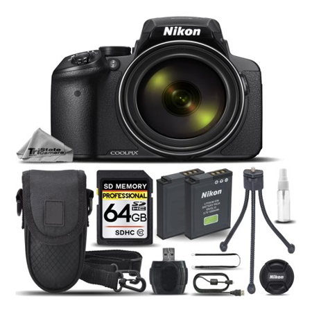 Digital Cameras Gps - Nikon COOLPIX P900 Digital Camera 83x Optical Zoom, Built-In Wi-Fi, NFC, and GPS + 64GB Memory Card + Backup Battery + High Speed Card Reader + Mini Tripod - International Version
