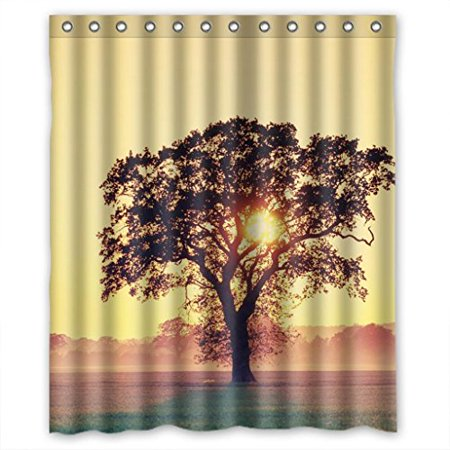 HelloDecor Misty Vast Grasland And Trees Shower Curtain Polyester Fabric Bathroom Decorative Size 60x72 Inches