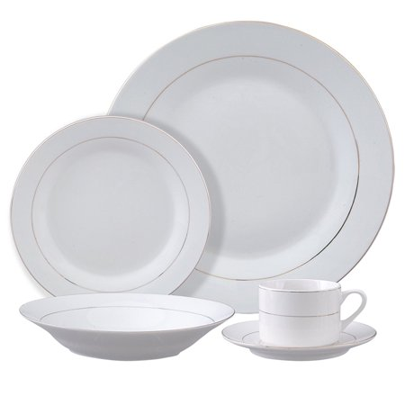 Tuxedo Deluxe - 12 pc Dinnerware Set - Double Gold Banded - Decorated - Fine Ceramic ()