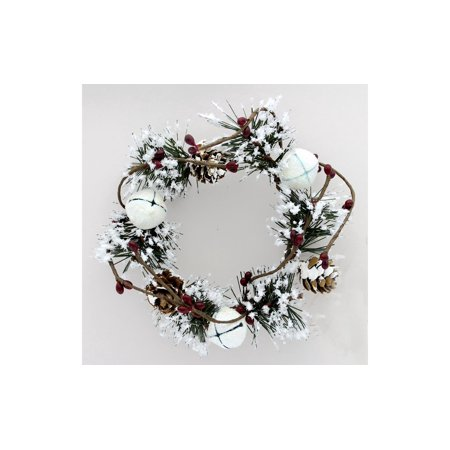 SPC Candle Ring Snowy W/Glit Bells & Holly - Holly Berry Candle Rings