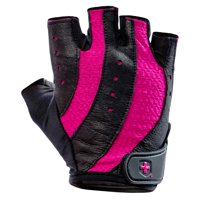 Harbinger Women's Pro Weightlifting Gloves with Vented Cushioned Leather Palm (Pair), Black/Pink, Small