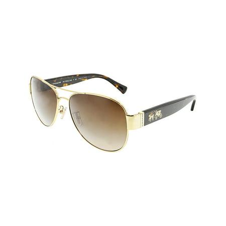 Coach Women's Gradient HC7059-923813-58 Gold Aviator Sunglasses (Coach Aviator Sonnenbrille)