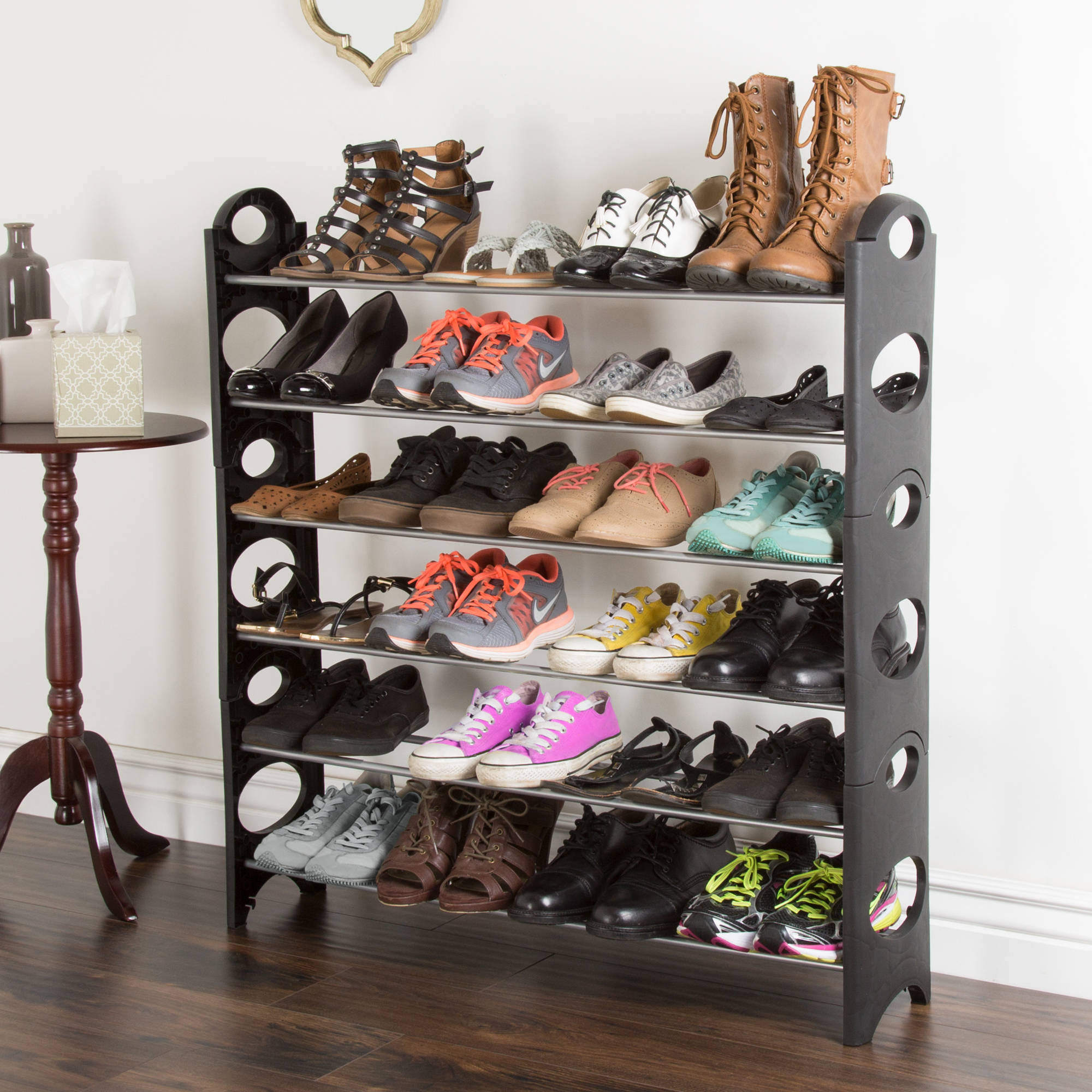Shoe Rack, Stackable Storage Bench – Closet, Bathroom, Kitchen, Entry Organizer, 6-Tier Space Saver Shoe Rack by Everyday Home