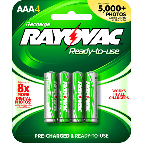 Rayovac Pre-charged Rechargeable NiMH AAA Batteries, 4ct
