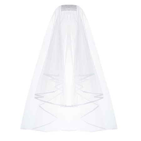 Wedding Veil-Pretty See Inserted Wedding Veil Holy Tulle Veil Beautiful Bridal Wedding Veil for Wedding and Dress - Bridal Veil Thong