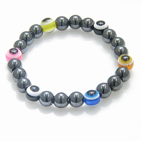 Evil Eye And Protection Magnetic Multicolor Simulated Hemalyke Hematite Bracelet