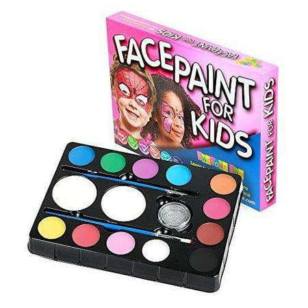 Face Paint Kit for Kids. 12 Color Party Palette. Best Value Face Painting Set