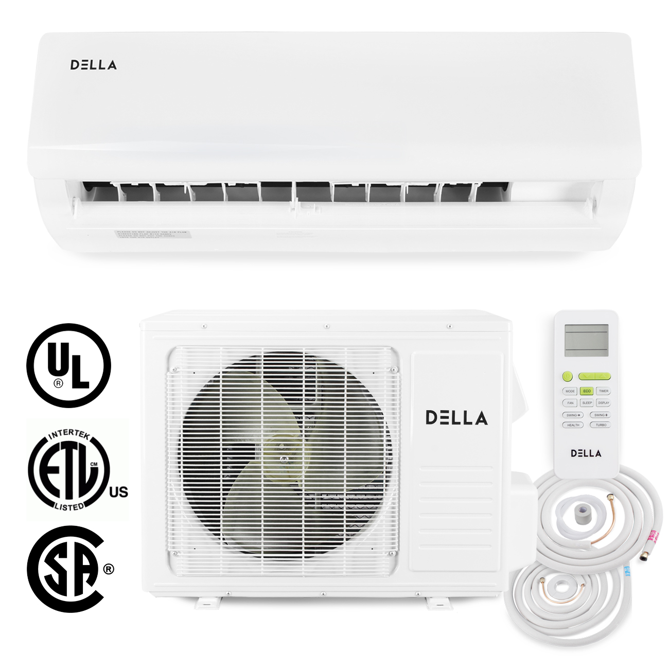DELLA 18,000 BTU 15 SEER Wall-Mounted Ductless Mini Split Inverter Air Conditioner Heat Pump System