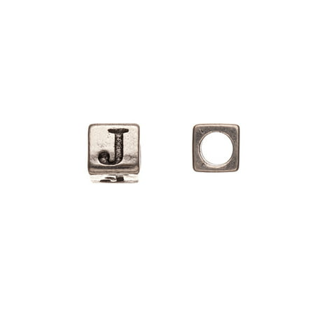 Pewter Alphabet Bead, Burnished Silver Plated, Letter J, 8mm Cube, 5.5mm Hole Sold per pkg of 10pcs per pack