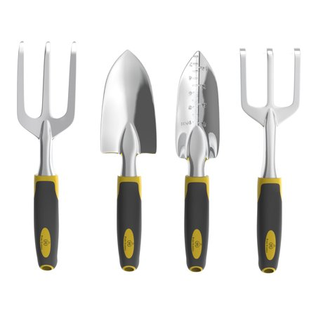 Gardening Hand Tools (4 Piece Gardening Tool Set- Garden Hand Tools with Cultivator, Transplanter, Trowel and Weed Fork with Ergonomic Comfort Grip Handles by Pure)
