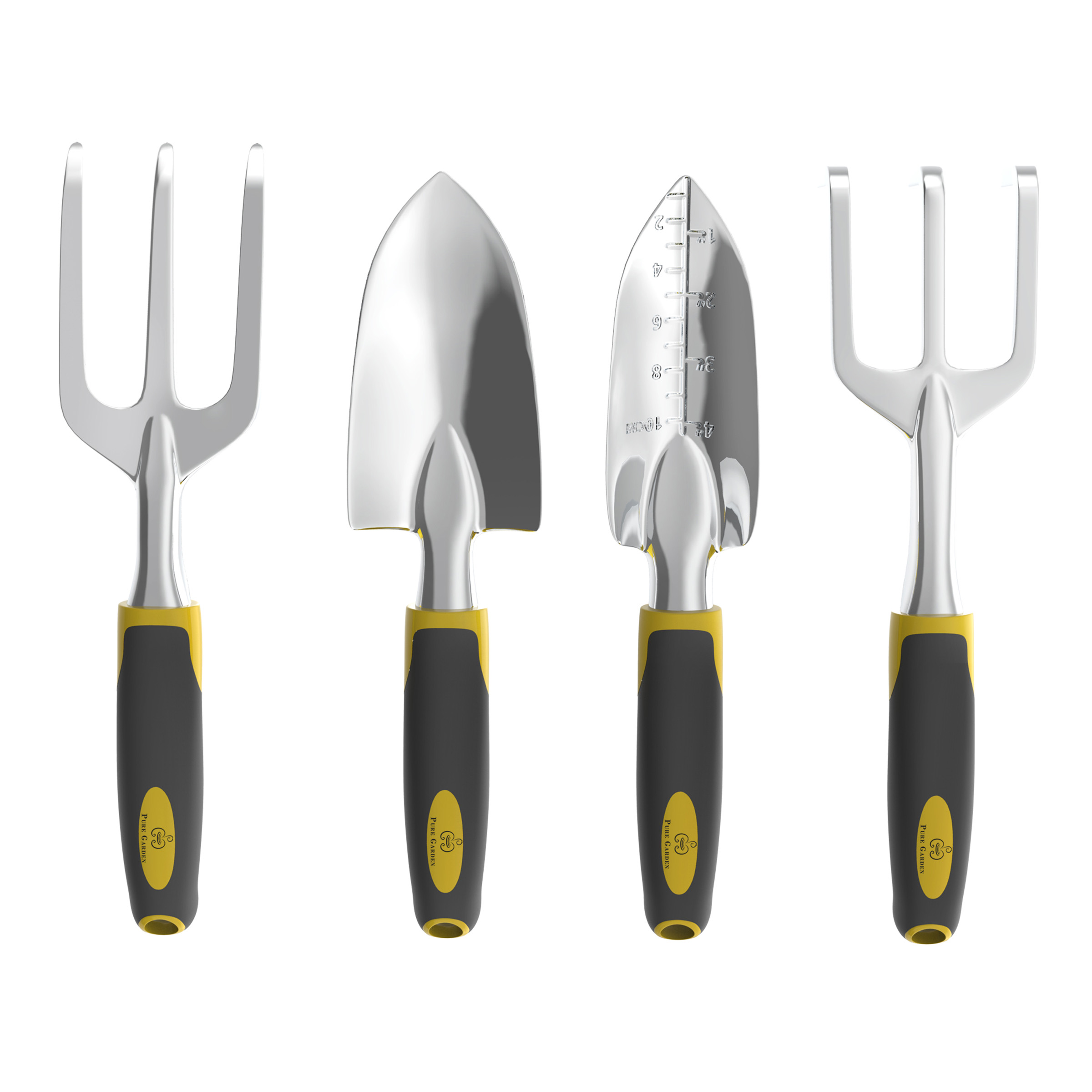 4 Piece Gardening Tool Set  Garden Hand Tools With Cultivator,  Transplanter, Trowel And
