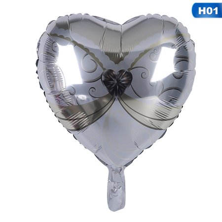 Bride And Groom Balloons (Fancyleo 1 Pcs Heart-Shaped Bride And Groom Aluminum Balloon Ball Birthday Party Wedding Dress Balloon 18 Inch)