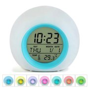 Reactionnx Led Wake Up Light Digital Electronic Alarm Clock with Indoor Temperature Calendar Display and Nature Sound - 7 Colors Changing Night Light for Bedrooms for Adults Kids Teens