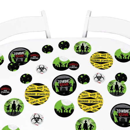 Zombie Zone - Halloween or Birthday Zombie Crawl Party Giant Circle Confetti - Party Decorations - Large Confetti 27 Ct (Halloween Zone Ball 2017)