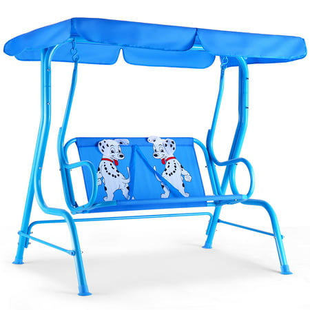Costway Kids Patio Swing Chair Children Porch Bench Canopy 2 Person Yard Furniture blue ()