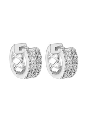 Product Image Hoop Style Huggie Earrings 14k White Gold Finish Cubic Zirconia 12mm Mens Womens Master Of Bling