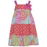 Little Girls Coral Polka Dot Candy Cane Print Bow Dress 4T