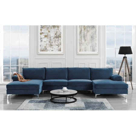 Modern Large Velvet U Shape Sectional with Double Chaise Lounge, Extra  Wide, Navy