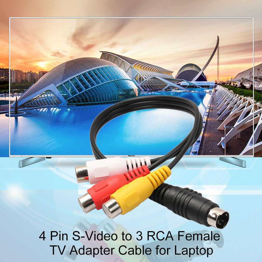 Professional 4 Pin S Video To 3 Rca Female Tv Adapter Cable For Laptop With Port And On Sale