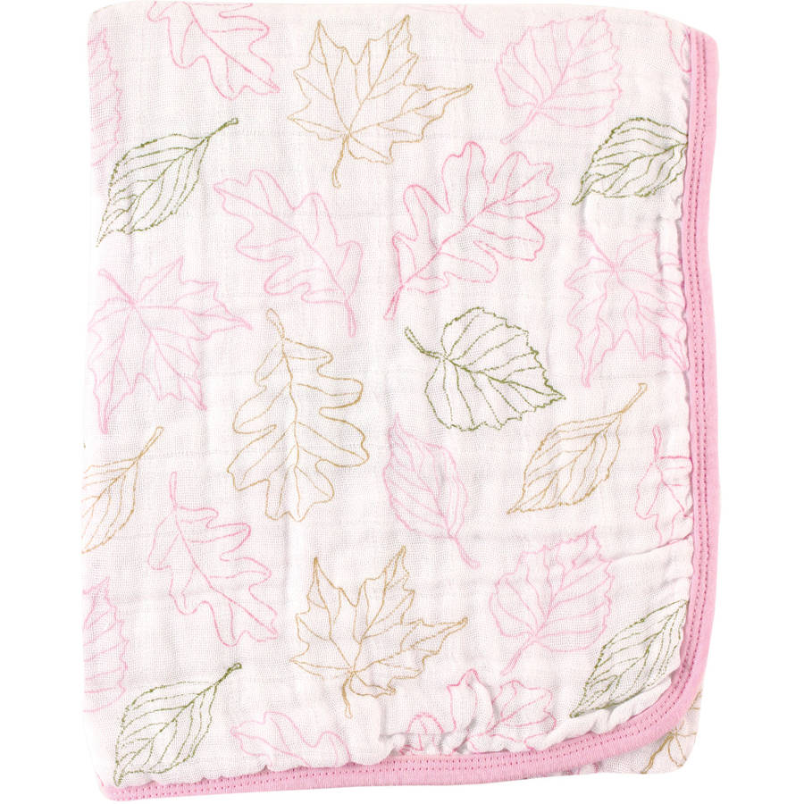 Touched by Nature Organic Muslin Stroller Blanket, 2 Layer, Leaves Girl