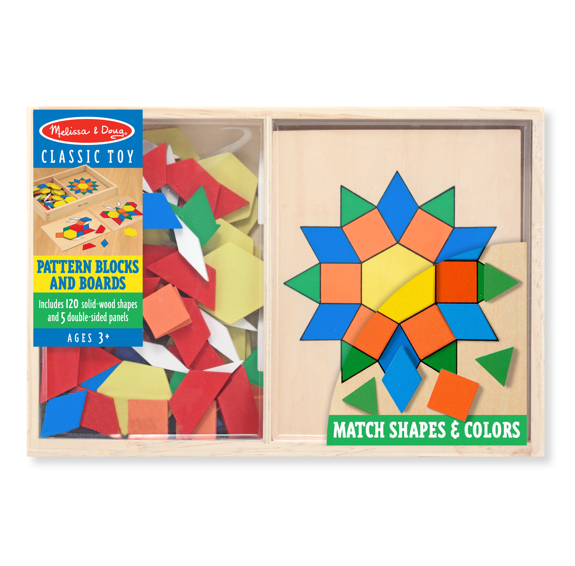 Melissa & Doug Pattern Blocks and Boards Classic Toy With 120 Solid Wood Shapes and 5... by Melissa & Doug