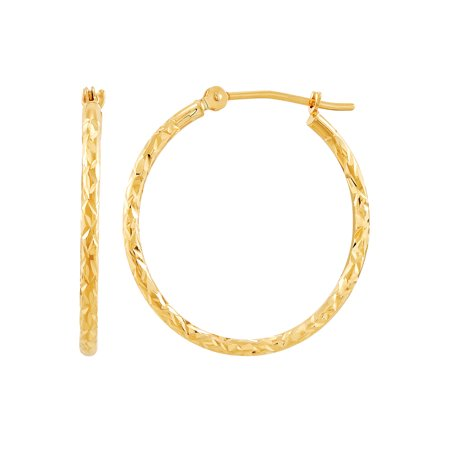 Brilliance Fine Jewelry 10K Yellow Gold Round Diamond-Cut Hoop Earrings
