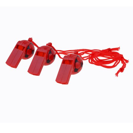 Sports Game Neck String Football Print Plastic Referee Whistles Red Black 3 Pcs - Football Whistles