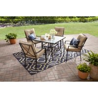 Mainstays Forest Hills Outdoor Patio Dining Set, Cushioned Metal 5 Piece, Tan