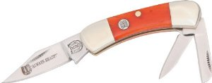 Rough Rider Knives 383 Small Canoe Pocket Knife with Orange Smooth Bone Handles Multi-Colored